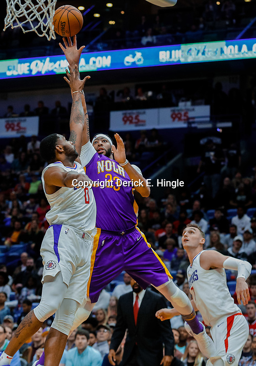 Jan 28, 2018; New Orleans, LA, USA; New Orleans Pelicans forward Anthony Davis (23) shoots over LA Clippers guard Sindarius Thornwell (0) during the fourth quarter at the Smoothie King Center. The Clippers defeated the Pelicans 112-103. Mandatory Credit: Derick E. Hingle-USA TODAY Sports