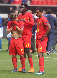 May 17, 2018 - United Kingdom - L-R Loic Masscho, Amadou Onana and Jamie Yayi Mpie of Belgium Under 17 dejected.Afterthe UEFA Under-17 Championship Semi-Final match between Italy U17s against Belgium U17s at New York Stadium, Rotherham United FC, England on 17 May 2018. (Credit Image: © Kieran Galvin/NurPhoto via ZUMA Press)