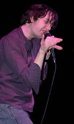 Vocalist Jarvis Cocker performs on stage at Pulps last concert in Sheffields  Magna Centre 14th December 2002 <br /> Pulp went on to reform in 2011<br /> <br /> 14 December 2002<br /> Image Copyright Paul David Drabble<br /> www.pauldaviddrabble.co.uk