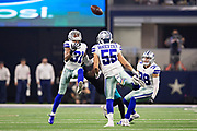 ARLINGTON, TX - OCTOBER 14:  Byron Jones #31 of the Dallas Cowboys breaks up a pass thrown to Dede Westbrook #12 of the Jacksonville Jaguars as Leighton Vander Esch #55 and Jeff Heath #38 of the Cowboys look on in the third quarter of a game at AT&T Stadium on October 14, 2018 in Arlington, Texas.  The Cowboys defeated the Jaguars 40-7.  (Photo by Wesley Hitt/Getty Images) *** Local Caption *** Byron Jones; Dede Westbrook; Leighton Vander Esch; Jeff Heath