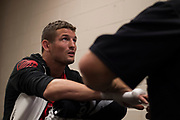 DALLAS, TX - MAY 13:  Chas Skelly has his hands wrapped before fighting Jason Knight during UFC 211 at the American Airlines Center on May 13, 2017 in Dallas, Texas. (Photo by Cooper Neill/Zuffa LLC/Zuffa LLC via Getty Images) *** Local Caption *** Chas Skelly