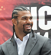 """Haye vs Chisora<br /> """"Licensed to Thrill""""<br /> <br /> at West Ham Football Club <br /> Upton Park, London, Great Britain <br /> press conference<br /> 8th May 2012 <br /> <br /> Adam Booth (trainer)<br /> <br /> Frank Warren (Boxing Promoter)<br /> <br /> Francis Warren <br /> <br /> David Haye<br /> former WBA World Heavyweight Champion<br /> <br /> Dereck Chisora<br /> former British & Commonwealth Heavyweight Champion<br /> <br /> <br /> Photograph by Elliott Franks"""