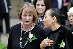 © Licensed to London News Pictures. 20/06/2016. London, UK. HARRIET HARMAN MP (left) arrives at St Margaret's Church, Westminster Abbey to take part in a Service of Prayer and Remembrance to commemorate Jo Cox MP, who was killed in her constituency on June 16, 2016. Photo credit: Peter Macdiarmid/LNP