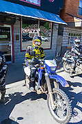 Dirk Mathews prepares to ride after lunch at the Ozark Cafe in Jasper, AR.
