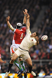 Nick Easter (England) and Ryan Jones (Wales) both miss the high ball from the restart during the RBS 6 Nations Championship match between England and Wales at Twickenham Stadium on February 6, 2010 in London, England.