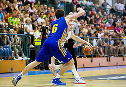 Jaka Blazic of Slovenia vs Oleksandr Mishula of Ukraine during friendly basketball match between National teams of Slovenia and Ukraine at day 3 of Adecco Cup 2014, on July 26, 2014 in Rogaska Slatina, Slovenia. Photo by Vid Ponikvar / Sportida.com
