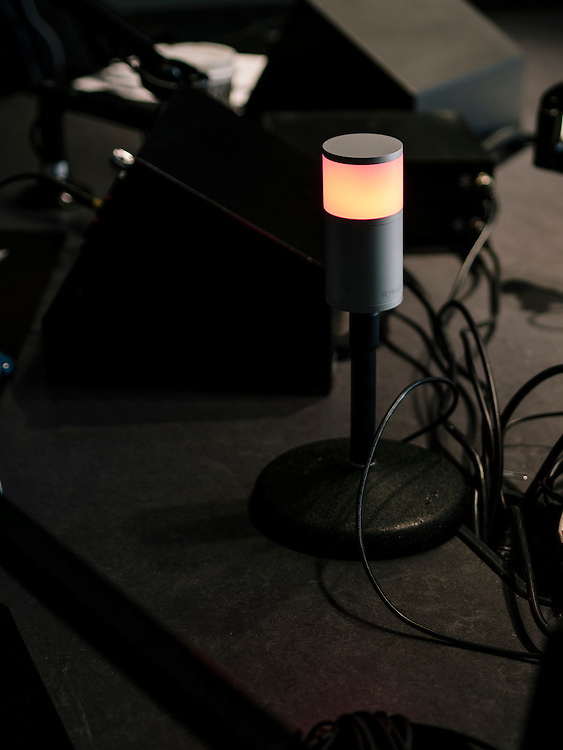A red light lets guests know when the show is live on air at the Diane Rehm Show.