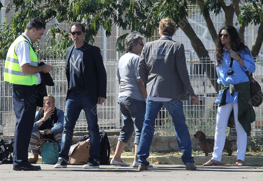 26.AUGUST.2012. CORSICA<br /> <br /> **EXCLUSIVE PICTURES** <br /> <br /> NO WEB/NO BLOG<br /> <br /> PRINCESS CHARLOTTE CASIRAGHI, GAD ELMALEH ANDREA CASIRAGHI AND HIS FIANC&Eacute;E TATIANA SANTO DOMINGO BOARDING A PRIVATE JET IN CORSICA.  <br /> <br /> BYLINE: EDBIMAGEARCHIVE.NET/EXCLUSIVEPIX<br /> <br /> *THIS IMAGE IS STRICTLY FOR UK NEWSPAPERS AND MAGAZINES ONLY*<br /> *FOR WORLD WIDE SALES AND WEB USE PLEASE CONTACT EDBIMAGEARCHIVE - 0208 954 5968*