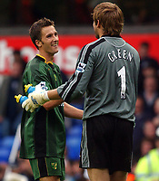Photo. Daniel Hambury.<br /> The Barclays Premiership.<br /> <br /> Tottenham Hotspur V Norwich. 12/9/2004.<br /> <br /> Norwich's Adam Drury and Robert Green celebrate a point at the end of the game<br /> NORWAY ONLY