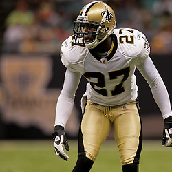 2009 August 14: New Orleans Saints rookie cornerback Malcolm Jenkins (27) on the filed  during 17-7 win by the New Orleans Saints over the Cincinnati Bengals in their preseason opener at the Louisiana Superdome in New Orleans, Louisiana.