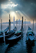 Image of gondolas and buildings along the canals of Venice, Italy