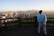 Mt. Namsan. Panoramic view over central Seoul. Morning sports.