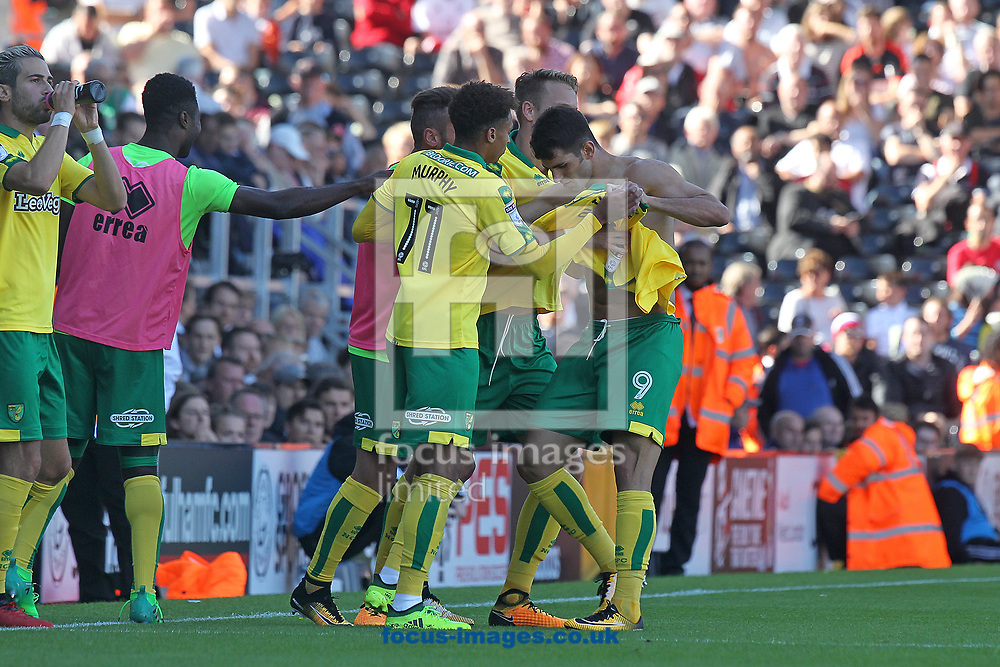 Nelson Oliveira of Norwich appears to be making a point to Norwich Head Coach Daniel Farke about who is the starting number 9 while celebrating scoring his sides equalising goal during the Sky Bet Championship match at Craven Cottage, London<br /> Picture by Paul Chesterton/Focus Images Ltd +44 7904 640267<br /> 05/08/2017