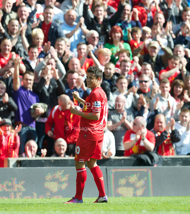 LIVERPOOL, ENGLAND - Sunday, May 19, 2013: Liverpool's Philippe Coutinho Correia celebrates scoring the only goal of the game against Queens Park Rangers during the final Premiership match of the 2012/13 season at Anfield. (Pic by David Rawcliffe/Propaganda)