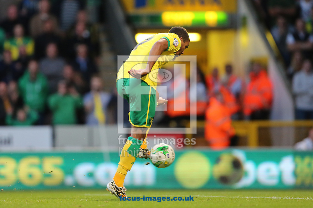 Lewis Grabban of Norwich City scores the equalising goal after seeing his initial penalty saved by Paul Robinson of Blackburn Rovers during the Sky Bet Championship match at Carrow Road, Norwich<br /> Picture by Richard Calver/Focus Images Ltd +447792 981244<br /> 19/08/2014