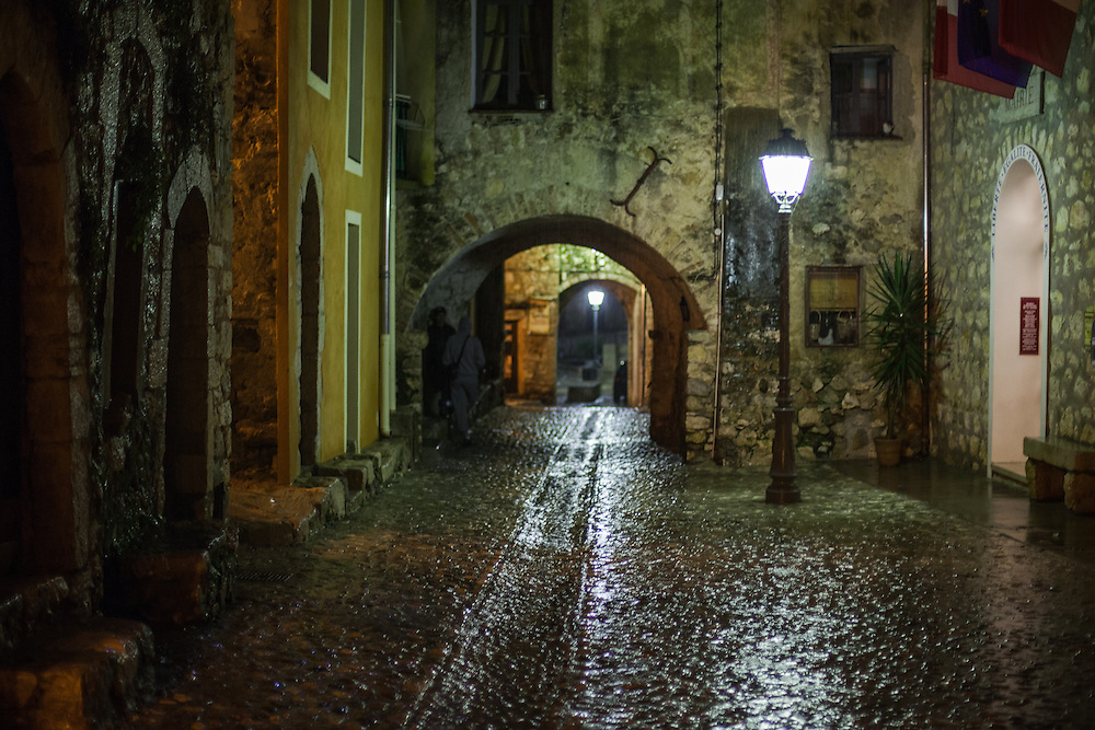 Rain falls on ancient cobbles in medeval village of Gorbio