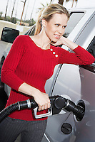 Woman filling car at gas station