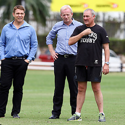 DURBAN, SOUTH AFRICA, 13 November 2015 - John Smit (Chief executive officer) of the Cell C Sharks with Edward Griffiths and Gary Gold (Sharks Director of Rugby)  during The Cell C Sharks Pre Season  training for the 2016 Super Rugby Season at Growthpoint Kings Park in Durban, South Africa. (Photo by Steve Haag)<br /> Images for social media must have consent from Steve Haag