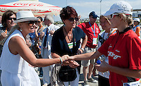 (L-R) Katarzyna Frank Niemczycka & Jolanta Kwasniewska - Former First Lady of Poland & athlete Agnieszka Sobczyk of SO Poland while cycling competition during 2011 Special Olympics World Summer Games Athens on June 27, 2011..The idea of Special Olympics is that, with appropriate motivation and guidance, each person with intellectual disabilities can train, enjoy and benefit from participation in individual and team competitions...Greece, Athens, June 27, 2011...Picture also available in RAW (NEF) or TIFF format on special request...For editorial use only. Any commercial or promotional use requires permission...Mandatory credit: Photo by © Adam Nurkiewicz / Mediasport