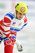 Graz, Austria - 2017 March 24: Dzhamila Chechkova from SO from Russia (157) competes in Speed Skating 333 meters race while Special Olympics World Winter Games Austria 2017 at Icestadium Graz Liebenau on March 24, 2017 in Graz, Austria.<br /> <br /> Mandatory credit:<br /> Photo by &copy; Adam Nurkiewicz / Mediasport<br /> <br /> Adam Nurkiewicz declares that he has no rights to the image of people at the photographs of his authorship.<br /> <br /> Picture also available in RAW (NEF) or TIFF format on special request.<br /> <br /> Any editorial, commercial or promotional use requires written permission from the author of image.<br /> <br /> Image can be used in the press when the method of use and the signature does not hurt people on the picture.