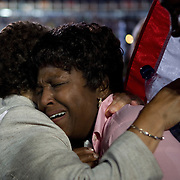 Delegate Elease Evans breaks down after Sen. Barack Obama accepts his party's nomination as the Democratic candidate for President on the fourth day of the Democratic National Committee (DNC) Convention at Invesco Field in Denver, Colorado (CO), Thursday, Aug. 28, 2008.  ..Photo by Khue Bui