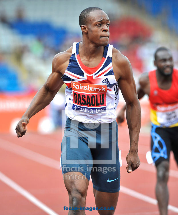 Picture by Alan Stanford/Focus Images Ltd +44 7915 056117<br /> 12/07/2013<br /> James Dasaolu (GBR) sets the 2nd ever fastest time and the stadium record of 9.91 in the 100m semi final pictured during day two of Sainsbury's British Championship at Alexander Stadium, Birmingham.