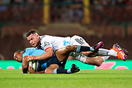 SYDNEY, NSW - MARCH 23: Waratahs player Kurtley Beale (12) tackled by Crusaders player Ryan Crotty (12) at round 6 of Super Rugby between NSW Waratahs and Crusaders on March 23, 2019 at The Sydney Cricket Ground, NSW. (Photo by Speed Media/Icon Sportswire)