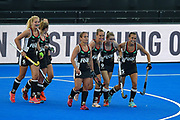 Germany celebrate a goal (2-1) during the Vitality Hockey Women's World Cup 2018 Pool C match between Germany and Argentina at the Lee Valley Hockey and Tennis Centre, QE Olympic Park, United Kingdom on 25 July 2018. Picture by Martin Cole.