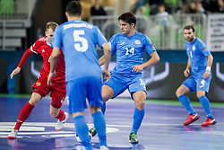 Dmitri Lyskov of Russia and Douglas Junior of Kazakhstan during futsal match between National teams of Kazakhstan and Russia at Day 5 of UEFA Futsal EURO 2018, on February 3, 2018 in Arena Stozice, Ljubljana, Slovenia. Photo by Urban Urbanc / Sportida