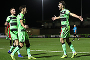 Forest Green Rovers Christian Doidge(9) scores a goal 1-0 and celebrates with Forest Green Rovers Liam Shephard(2) during the EFL Sky Bet League 2 match between Forest Green Rovers and Grimsby Town FC at the New Lawn, Forest Green, United Kingdom on 22 January 2019.
