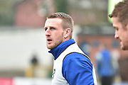 Bury Defender, Peter Clarke warms up during the Sky Bet League 1 match between Bury and Walsall at Gigg Lane, Bury, England on 16 January 2016. Photo by Mark Pollitt.