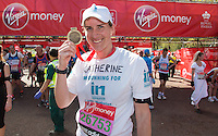 Katherine Grainer CBE - Olympic Gold Medalist rower (London 2012) at the end of the Virgin Money London Marathon 2014 on Sunday 13 April 2014<br /> Photo: Roger Allan/Virgin Money London Marathon<br /> media@london-marathon.co.uk