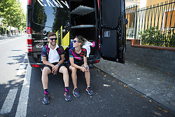 CANYON//SRAM Racing soigneurs Lars Schiffner and Alessandra Borchi share a joke while waiting for their riders on Stage 10 of the Giro Rosa - a 124 km road race, starting and finishing in Torre Del Greco on July 9, 2017, in Naples, Italy. (Photo by Balint Hamvas/Velofocus.com)