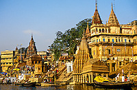 Bathing ghats on the RIver Ganges, Varanasi (Benares), Uttar Pradesh, India