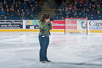 KELOWNA, CANADA - JANUARY 28: Cindy Rogers, photographer stands on the ice at the Kelowna Rockets against the Portland Winterhawks on January 28, 2017 at Prospera Place in Kelowna, British Columbia, Canada.  (Photo by Marissa Baecker/Shoot the Breeze)  *** Local Caption ***