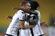 Parma Calcio's Ivorian striker Gervinho celebrates with team mate Swedish midfielder Dejan Kulusevski after scoring to give the side a 1-0 lead during the Serie A match at Stadio Ennio Tardini, Parma. Picture date: 28th June 2020. Picture credit should read: Jonathan Moscrop/Sportimage