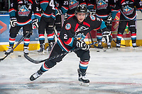 KELOWNA, CANADA - DECEMBER 5: Jesse Lees #2 of Kelowna Rockets skates during warm up against the Prince George Cougars on December 5, 2014 at Prospera Place in Kelowna, British Columbia, Canada.  (Photo by Marissa Baecker/Shoot the Breeze)  *** Local Caption *** Jesse Lees;