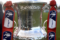 The FA Cup trophy on display before the FA Cup Third Round match at Croft Park, Blyth.