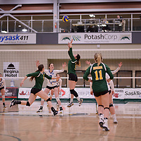 2nd year setter Satomi Togawa (5) of the Regina Cougars in action during Women's Volleyball home game on February 3 at Centre for Kinesiology, Health and Sport. Credit: Arthur Ward/Arthur Images