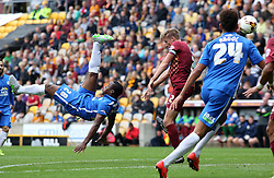 Souleymane Coulibaly of Peterborough United attempts to score in acrobatic style - Mandatory byline: Joe Dent/JMP - 07966386802 - 26/09/2015 - FOOTBALL - Coral Windows Stadium -Bradford,England - Bradford City v Peterborough United - Sky Bet League One