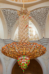 Ornate chandelier in Sheikh Zayed Mosque in Abu Dhabi , United Arab Emirates, UAE