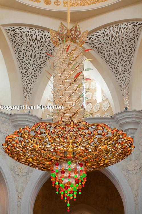 Ornate chandelier in Sheikh Zayed Mosque in Abu Dhabi , United Arab Emirates, UAE