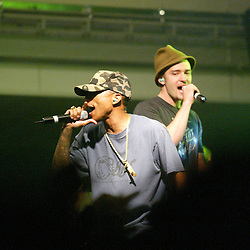 Justin Timberlake on stage with Pharrell Williams 2003