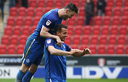 Steven Taylor of Peterborough United and team-mate Andrew Hughes celebrate the late equalising goal - Mandatory by-line: Joe Dent/JMP - 30/03/2018 - FOOTBALL - Aesseal New York Stadium - Rotherham, England - Rotherham United v Peterborough United - Sky Bet League One