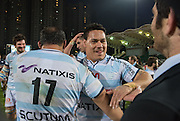 Racing 92 player CHRIS MASOE gets congratulations on the win from fellow team mates  following the Natixis Cup rugby match between French team Racing 92 and New Zealand team Otago Highlanders at Sui San Wan Stadium in Hong Kong