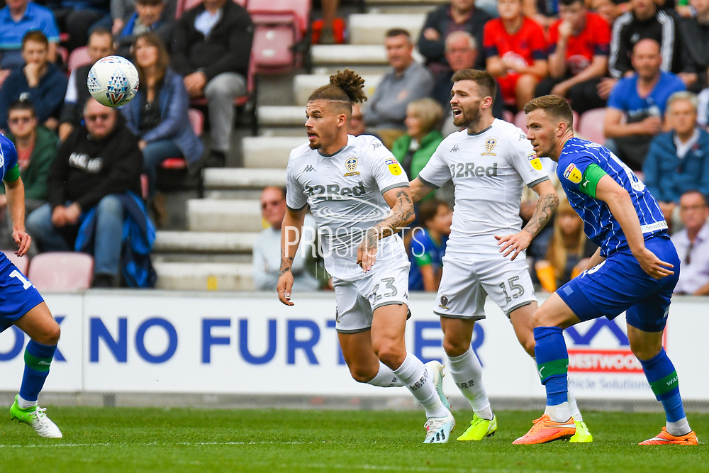 Leeds United midfielder Kalvin Phillips (23) in action during the EFL Sky Bet Championship match between Wigan Athletic and Leeds United at the DW Stadium, Wigan, England on 17 August 2019.