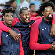 Basketball - Olympics: Day 16  USA players pose for photographs before the medal presentation, from left, Jimmy Butler #4, Kevin Durant #5 and DeAndre Jordan #6  of United States during the USA Vs Serbia Men's Basketball Gold Medal game at Carioca Arena1on August 21, 2016 in Rio de Janeiro, Brazil. (Photo by Tim Clayton/Corbis via Getty Images)