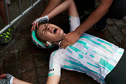 Lizzy Banks (GBR) collapses after the effort on Stage 8 of 2019 Giro Rosa Iccrea, a 133.3 km road race from Vittorio Veneto to Maniago, Italy on July 12, 2019. Photo by Sean Robinson/velofocus.com