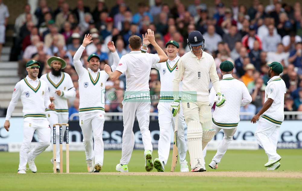 South Africa players celebrate the wicket of England's Keaton Jennings during day two of the Second Investec Test match at Trent Bridge, Nottingham.