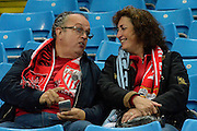 Sevilla fans during the Champions League Group D match between Manchester City and Sevilla at the Etihad Stadium, Manchester, England on 21 October 2015. Photo by Alan Franklin.